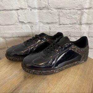 4/$20🍄 FASHION Black Patent Glitter Sneakers